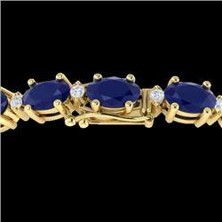 15 CTW Sapphire & VS/SI Diamond Eternity Bracelet 10K Yellow Gold - REF-122X8T - 21460