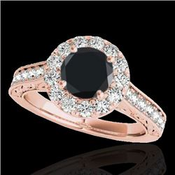 2.22 CTW Certified VS Black Diamond Solitaire Halo Ring 10K Rose Gold - REF-94N4Y - 33737