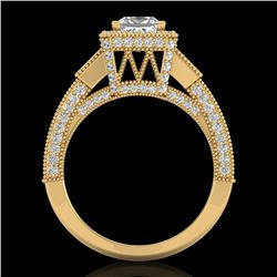 3.53 CTW Princess VS/SI Diamond Micro Pave 3 Stone Ring 18K Yellow Gold - REF-618X2T - 37177
