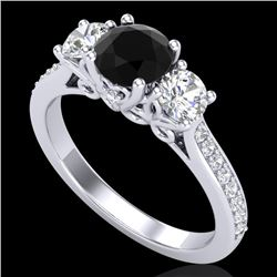 1.67 CTW Fancy Black Diamond Solitaire Art Deco 3 Stone Ring 18K White Gold - REF-156H4A - 37807
