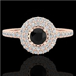0.80 CTW Micro VS/SI Diamond Designer Ring 14K Rose Gold - REF-58W2F - 20892