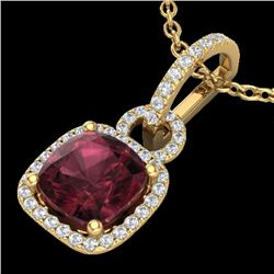 3.50 CTW Garnet & Micro VS/SI Diamond Necklace 18K Yellow Gold - REF-63N3Y - 22985
