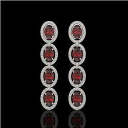 6.2 CTW Garnet & Diamond Halo Earrings 10K White Gold - REF-102T5M - 40547