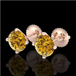 2.5 CTW Intense Fancy Yellow Diamond Art Deco Stud Earrings 18K Rose Gold - REF-354X5T - 38254