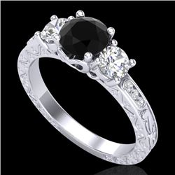 1.41 CTW Fancy Black Diamond Solitaire Art Deco 3 Stone Ring 18K White Gold - REF-138W2F - 37758