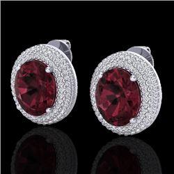 9 CTW Garnet & Micro Pave VS/SI Diamond Earrings 18K White Gold - REF-153N5Y - 20226