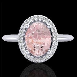 1.50 CTW Morganite & Micro VS/SI Diamond Ring Solitaire Halo 18K White Gold - REF-68W4F - 21015