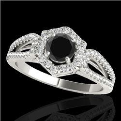1.43 CTW Certified VS Black Diamond Solitaire Halo Ring 10K White Gold - REF-71Y3K - 34019