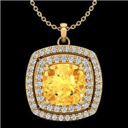 1.77 CTW Citrine & Micro Pave VS/SI Diamond Halo Necklace 18K Yellow Gold - REF-63F5N - 20453