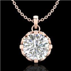 1.5 CTW VS/SI Diamond Solitaire Art Deco Stud Necklace 18K Rose Gold - REF-363Y5K - 36846