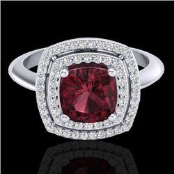 2.27 CTW Garnet & Micro VS/SI Diamond Pave Halo Ring 18K White Gold - REF-65F3N - 20762
