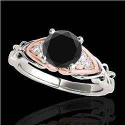 1.35 CTW Certified VS Black Diamond Solitaire Ring 10K White & Rose Gold - REF-54X9T - 35211