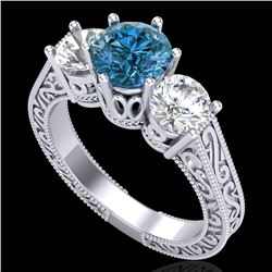 2.01 CTW Fancy Intense Blue Diamond Art Deco 3 Stone Ring 18K White Gold - REF-343H6A - 37579