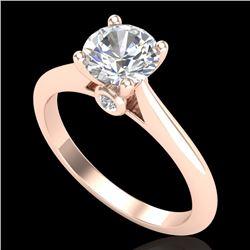1.08 CTW VS/SI Diamond Solitaire Art Deco Ring 18K Rose Gold - REF-361H8A - 37287