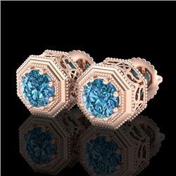 1.07 CTW Fancy Intense Blue Diamond Art Deco Stud Earrings 18K Rose Gold - REF-118W2F - 37937