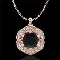 1.01 CTW Fancy Black Diamond Solitaire Art Deco Stud Necklace 18K Rose Gold - REF-74H2A - 37969