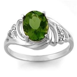 2.54 CTW Green Tourmaline & Diamond Ring 18K White Gold - REF-52F8N - 11478