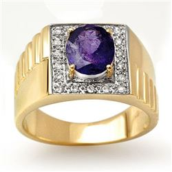 2.75 CTW Tanzanite & Diamond Ring 10K Yellow Gold - REF-69X3T - 13483
