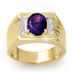 2.56 CTW Tanzanite & Diamond Men's Ring 10K Yellow Gold - REF-90F9N - 13514
