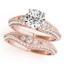 1.51 CTW Certified VS/SI Diamond Solitaire 2Pc Wedding Set Antique 14K Rose Gold - REF-178W2F - 3144