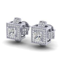 1.73 CTW Princess VS/SI Diamond Micro Pave Stud Earrings 18K White Gold - REF-254Y5K - 37184