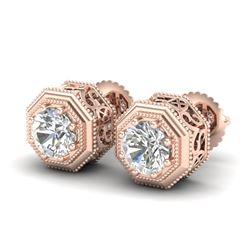 1.07 CTW VS/SI Diamond Solitaire Art Deco Stud Earrings 18K Rose Gold - REF-190Y9K - 37095