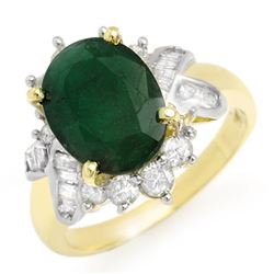 3.27 CTW Emerald & Diamond Ring 14K Yellow Gold - REF-71X5T - 13328