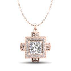 1.46 CTW Princess VS/SI Diamond Micro Pave Necklace 18K Rose Gold - REF-418M2H - 37194
