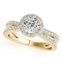 2 CTW Certified VS/SI Diamond Solitaire Halo Ring 18K Yellow Gold - REF-509F5N - 26628