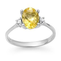 1.58 CTW Citrine & Diamond Ring 10K White Gold - REF-22K2W - 12446