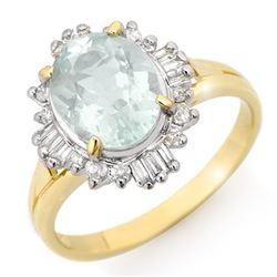 2.53 CTW Aquamarine & Diamond Ring 10K Yellow Gold - REF-40A2X - 14460