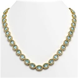 41.88 CTW Aquamarine & Diamond Halo Necklace 10K Yellow Gold - REF-722A4X - 40579