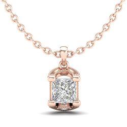 1.25 CTW Princess VS/SI Diamond Solitaire Art Deco Necklace 18K Rose Gold - REF-315X2T - 37155