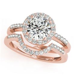 0.67 CTW Certified VS/SI Diamond 2Pc Wedding Set Solitaire Halo 14K Rose Gold - REF-81M6H - 30769