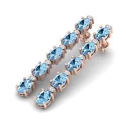 12.47 CTW Aquamarine & VS/SI Certified Diamond Tennis Earrings 10K Rose Gold - REF-126A5X - 29473