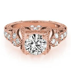 1.25 CTW Certified VS/SI Diamond Solitaire Antique Ring 18K Rose Gold - REF-399K5W - 27298
