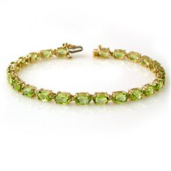 14.0 CTW Peridot Bracelet 10K Yellow Gold - REF-55K3W - 13450