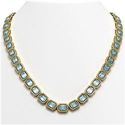 54.79 CTW Aquamarine & Diamond Halo Necklace 10K Yellow Gold - REF-896H9A - 41356