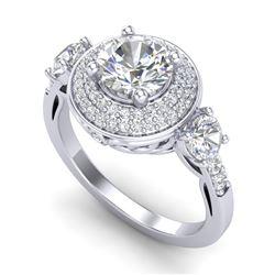 2.05 CTW VS/SI Diamond Solitaire Art Deco 3 Stone Ring 18K White Gold - REF-490N9Y - 37262