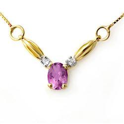 1.30 CTW Amethyst & Diamond Necklace 10K Yellow Gold - REF-18H8A - 12614