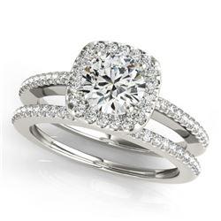 0.92 CTW Certified VS/SI Diamond 2Pc Wedding Set Solitaire Halo 14K White Gold - REF-134K9W - 30993