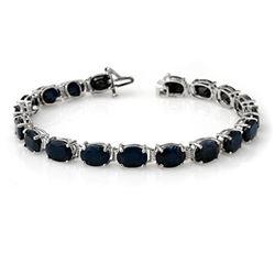 35.0 CTW Blue Sapphire Bracelet 10K White Gold - REF-78H2A - 14374