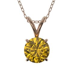0.75 CTW Certified Intense Yellow SI Diamond Solitaire Necklace 10K Rose Gold - REF-100H5A - 33181