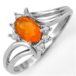 0.50 CTW Opal & Diamond Ring 10K White Gold - REF-20K2W - 11106