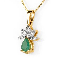 0.50 CTW Emerald & Diamond Necklace 10K Yellow Gold - REF-18H9A - 10354