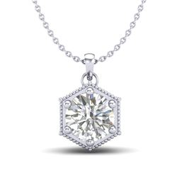 0.82 CTW VS/SI Diamond Solitaire Art Deco Stud Necklace 18K White Gold - REF-218F2N - 37220