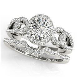 1.55 CTW Certified VS/SI Diamond 2Pc Wedding Set Solitaire Halo 14K White Gold - REF-389M3H - 31082