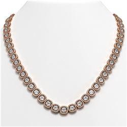 37.60 CTW Cushion Diamond Designer Necklace 18K Rose Gold - REF-6959A6X - 42714