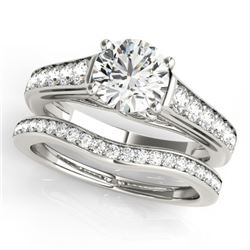 1.7 CTW Certified VS/SI Diamond Solitaire 2Pc Wedding Set 14K White Gold - REF-407W3F - 31628