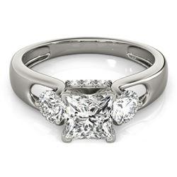 1.35 CTW Certified VS/SI Princess Cut Diamond 3 Stone Ring 18K White Gold - REF-238H2A - 28032
